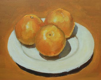 """Original Painting of Three Oranges, Acrylic on Watercolor Paper, 10"""" x 7"""""""