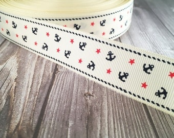 "Nautical ribbon - Cream red navy - Anchors and stars - 1"" grosgrain ribbon - 3 or 5 yard lot -Nautical colors - By the sea - Out to sea"