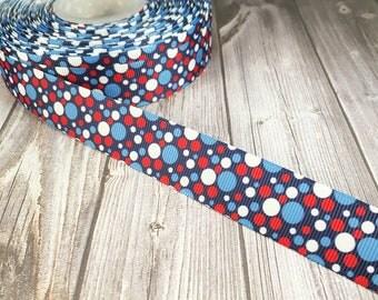 "4th of July ribbon - Independence day ribbon - 7/8"" grosgrain ribbon - Red white and blue - American ribbon - Americana ribbon - 3 or 5 yard"