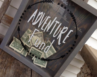 Adventure Fund-Shadow Box-Money Box-Mr And Mrs-Donation Box-Mothers day gift-Gift For Her-Gift For Him-Wedding Shadow Box