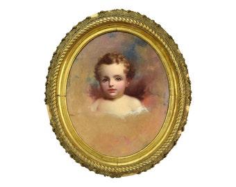 1850 Portrait Painting of Child John Beylard Philadelphia Circle of Thomas Sully