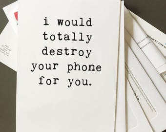 Greeting Cards, Funny Card, Wholesale, Friend Card, Best Friend, Deflategate, Destroy Your Phone