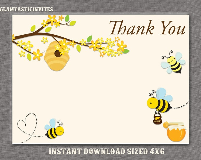 Bee Thank You Card Printable, Digital file, Instant Download, Shower Thank you Card, Baby Shower Thank You Card, Bee, Honey, DIY, You print