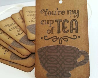 Tea tags, Tea cup favor tags, Tea cup gift tags, Tea party favors, You're my cup of tea tags, Set of 12