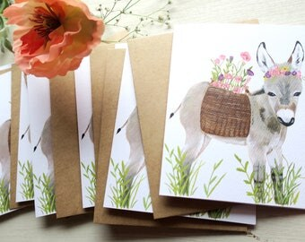 Poppied Donkey • Notecards