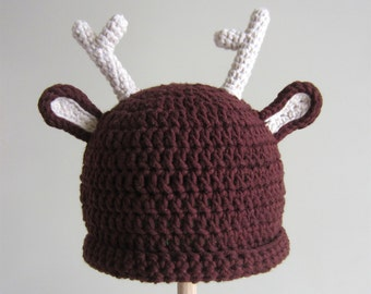 Reindeer Baby Hat - crocheted cotton/acrylic blend yarn - brown crochet beanie - Christmas