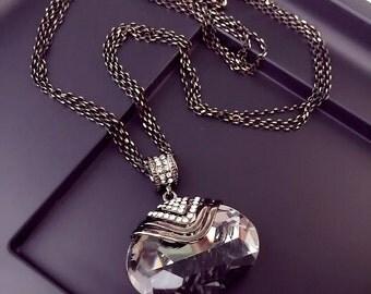 Long Black  Crystal Pendant Necklace,   Large Crystal Pendant