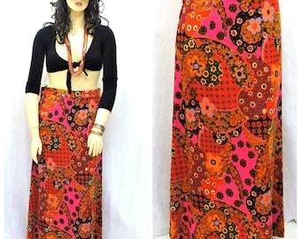 Vintage 60's maxi skirt  14 / 16 1960s paisley floral long hippie skirt L handmade boho retro woven cotton festival skirt SunnyBohoVntage