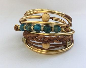 Crazy Lace Agate Gold & Brown Cuff