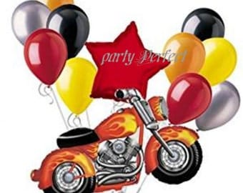 12 pc Flames Motorcycle  Birthday Balloon Bouquet, Harley Davidson Themed Party