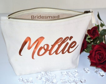 Personalised Bridesmaid make up bag, wedding favours, cosmetic bag.