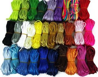 2mm Satin Rattail Cord, Nylon Thread, Jewellery, Knotting, Macrame, Shamballa, Kumihimo Braiding, Crafts x 10m