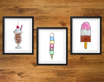 Ice Cream Treats Decor Set |  Ice Cream Cone Milkshake Popsicle Printable Decor | Wall Decoration Set of Three