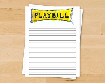 Theatre Playbill Stationery | Printable Broadway Stationery | Writing Paper