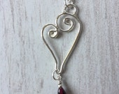 Silver Heart PendantSilver Wire Heart Pendant Silver Heart and Garnet drop