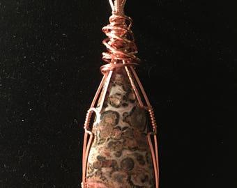 Leopard Sink Jasper and Copper Pendant