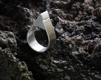 Silver and Concrete Ring   Silver Ring   Statement Silver Ring