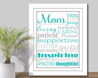 Mom Subway Art - Choose your Colors. Printable Mom gift, Mother Word Art, Gift for Mom, mothers day, Mother Subway Art