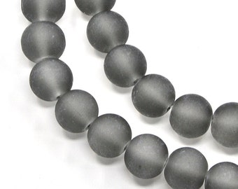 "Frosted Gray 6mm Round Glass Beads (30"" Strand)"