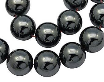 """Black 10mm Round Natural Hematite Gemstone Beads (16"""" Strand)"""