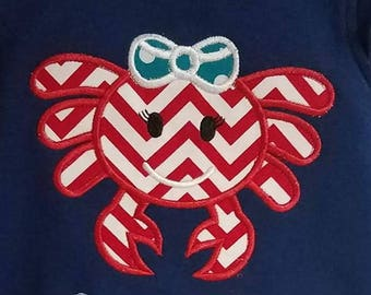 Summer Crab Embroidered Shirt- Beach - Pool