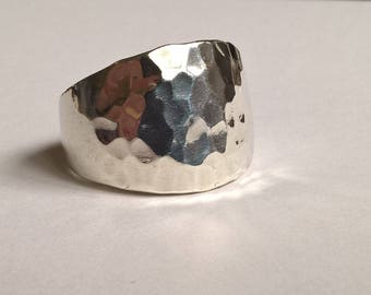 Large Arts & Crafts Style Hammered Finish Mexico Sterling Silver Ring