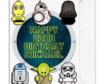 Personalised Glossy Birthday Card A5 with Envelope Inspired by Star Wars, Darth Vader, Luke, force Awakens, R2d2