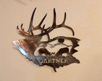 Elk Metal Art!  Add your Last Name!!