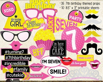 Photo Booth Props, HAPPY 7TH BIRTHDAY, girl, printable sheets, instant download, diy, party planning, pink, yellow