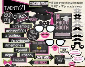 Photo Booth Props, CLASS OF 2021, 8th grade graduation, party, printable sheets, digital, instant download, hot pink, lime, neon green