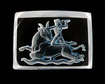 Vintage reverse carved crystal intaglio, Hercules and the Cretin Bull, Greek mythological scene, 25x18 mm - 2 pcs - E13