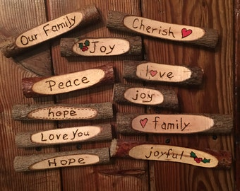 Woodburned Tree Branches/Signs/Decor