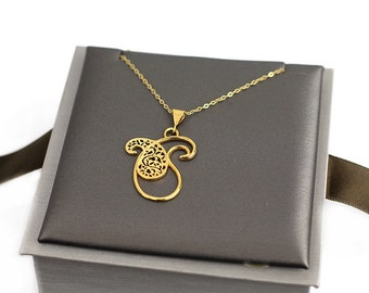 Sterling silver 24k gold plated Paisley Necklace