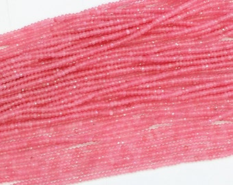 One Full 15 inch Strand 2x4mm Tiny Faceted Rondelle Pink Quartz Rose Crystal Beads SKU-G176