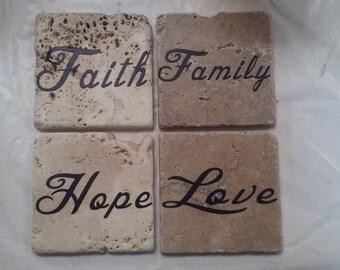 Set of four, handmade tile coasters.