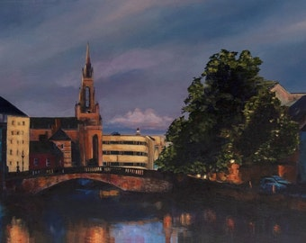Cork City Painting, Evening Glow over the River Lee, Original Acrylic Painting 100 x 50cms by Helen Condon