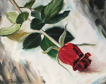 "Rose painting, rose art, single rose, Red Rose painting, flower painting, red flower, 8x14"". 20х35cm. Original oil painting. Floral painting"
