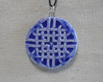 Round and Square Celtic Knot Pendant - Cobalt Blue