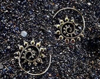 """Boho Spiral Earrings """"Helix Blossom"""" Brass 25mm"""