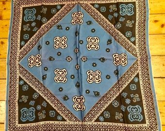 Silk Square Scarf. Geometric. Aztec. 1970's. Hand Rolled Edges