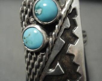 Rare Vintage Hopi/ Navajo 'Snake Eyes Turquoise' Geometirc Silver Ring Old
