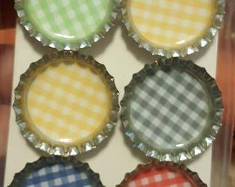 Picnic Plaid Bottle Cap Magnets