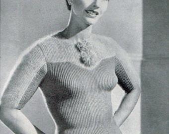 Vintage Women's Knitting Pattern - Angora sweater - 40s 50s - instant download PDF - knitting patterns for women - Ladies