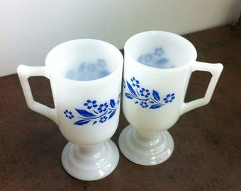 Vintage Milk Glass - White Coffee Cup Decorated with Blue Flowers - Pedestal Irish Coffee Mug - House Warming Gift