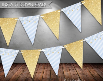 Twinkle Twinkle Little Star Banner, Bunting Banner, Triangle, Blue and Gold, Its a Boy, Baby Shower, Digital Instant Download #405