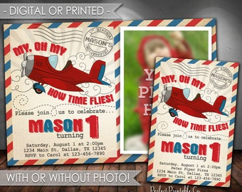 Airplane Invitation, Plane Invitation, Vintage Airplane Birthday Party Invitation, Airplane Invite, Red and Blue, Digital File, Printed #670