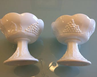 Vintage milk glass candle stick holders with colony harvest grape pattern