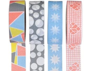 Ensemble de 4 washi tapes - bandes de Washi de coeur - Origami washi tape à motifs