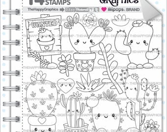 80%OFF - Cactus Stamp, COMMERCIAL USE, Digi Stamp, Digital Image, Cactus Digistamp, Cactus Coloring Page, Cactus Graphic, Printable,s