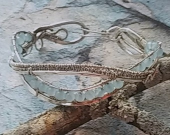 Sterling Silver Wire Weave Beaded Aquamarine  Bracelet,, Gift idea for her